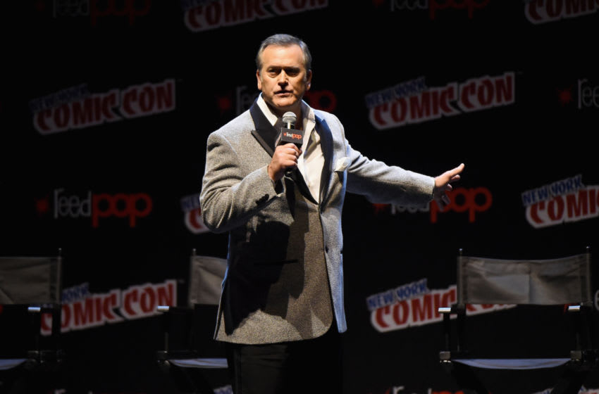 NEW YORK, NY - OCTOBER 07: Bruce Campbell speaks onstage at the Ash Vs Evil Dead Panel during 2017 New York Comic Con - Day 3 on October 7, 2017 in New York City. (Photo by Nicholas Hunt/Getty Images)