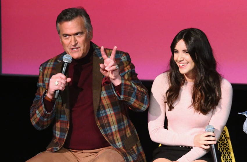 ATLANTA, GA - FEBRUARY 02: Actors Bruce Campbell (L) and Arielle Carver-O'Neill speak onstage during a screening and Q&A for 'Ash vs Evil Dead'' on Day 2 of the SCAD aTVfest 2018 on February 2, 2018 in Atlanta, Georgia. (Photo by Astrid Stawiarz/Getty Images for SCAD aTVfest 2018 )