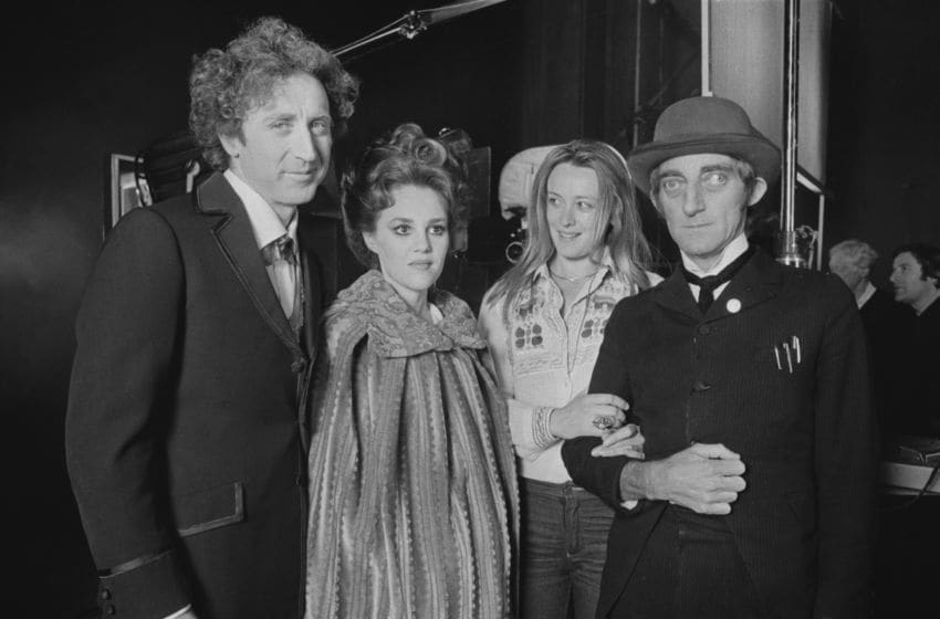 American actor, screenwriter, director, producer, singer-songwriter and author Gene Wilder (1933 - 2016), American actress, comedian, voice actress, and singer Madeline Kahn (1942 - 1999), and British actor, comedy writer, and comedian Marty Feldman (1934 - 1982), with Russian actress Margarita Terekhova, UK, 22nd May 1975. (Photo by Evening Standard/Hulton Archive/Getty Images)