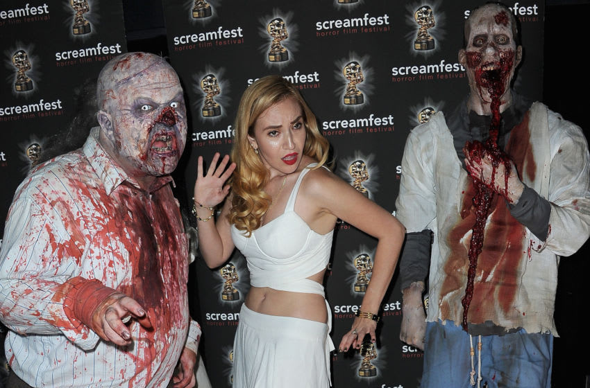 HOLLYWOOD, CA - OCTOBER 08: Noel Jason Scott and Angelica Ulloa attend Screamfest Screening Of