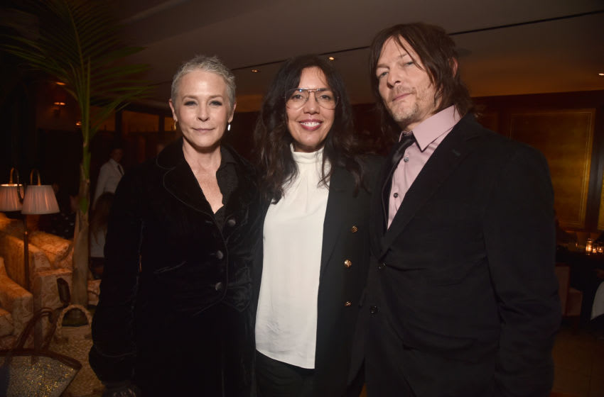 HOLLYWOOD, CALIFORNIA - SEPTEMBER 23: Melissa McBride, Sarah Barnett and Norman Reedus attend the after party for the season 10 Special Screening of AMC's