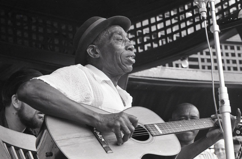 Mississippi John Hurt and Brownie McGhee at Newport Folk Festival, 28th July 1963. (Photo by John Byrne Cooke Estate/Getty Images)