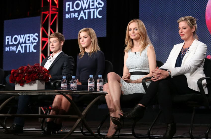 PASADENA, CA - JANUARY 09: (L-R) Actors Mason Dye, Kiernan Shipka, Heather Graham and screenwriter Kayla Alpert speak onstage during the 'Lifetime - Flowers in the Attic' panel discussion at the Lifetime/A&E Network' portion of the 2014 Winter Television Critics Association tour at the Langham Hotel on January 9, 2014 in Pasadena, California. (Photo by Frederick M. Brown/Getty Images)