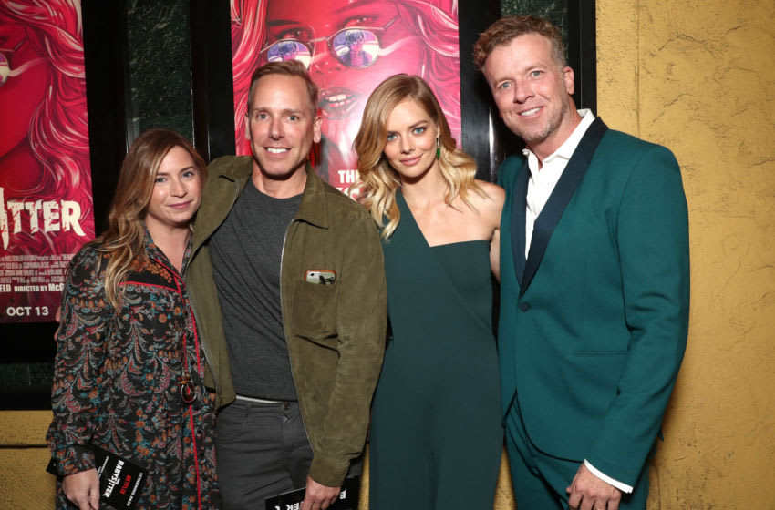 LOS ANGELES, CA - OCTOBER 11: Producer Mary Viola, Netflix's Director of Acquisitions Matt Brodlie, Samara Weaving and McG attend the Los Angeles Premiere of