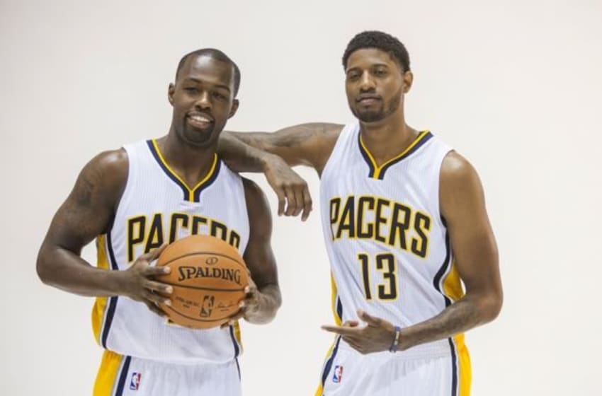 Sep 29, 2014; Indianapolis, IN, USA; Indiana Pacers guard Rodney Stuckey (2) and forward Paul George (13) during media day at Bankers Life Fieldhouse. Mandatory Credit: Trevor Ruszkowski-USA TODAY Sports