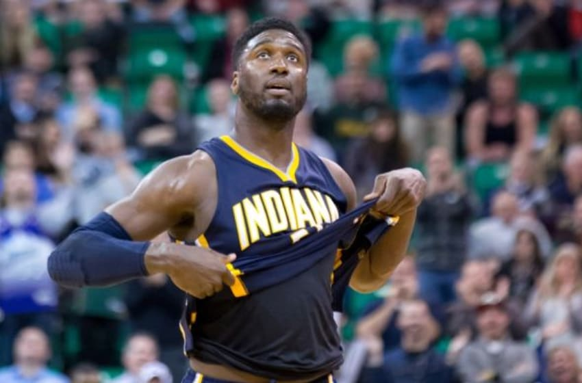 Jan 5, 2015; Salt Lake City, UT, USA; Indiana Pacers center Roy Hibbert (55) leaves the game after fouling out during the second half against the Utah Jazz at EnergySolutions Arena. Indiana won 105-101. Mandatory Credit: Russ Isabella-USA TODAY Sports