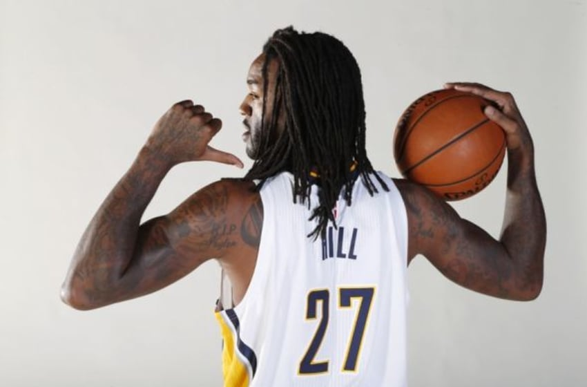 Sep 28, 2015; Indianapolis, IN, USA; Indiana Pacers forward Jordan Hill (27) poses for a photo during media day at Bankers Life Fieldhouse. Mandatory Credit: Brian Spurlock-USA TODAY Sports