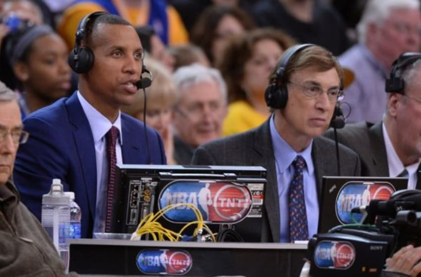 April 10, 2014; Oakland, CA, USA; NBA on TNT announcers Reggie Miller (left) and Marv Albert (right) during the second quarter between the Golden State Warriors and the Denver Nuggets at Oracle Arena. The Nuggets defeated the Warriors 100-99. Mandatory Credit: Kyle Terada-USA TODAY Sports
