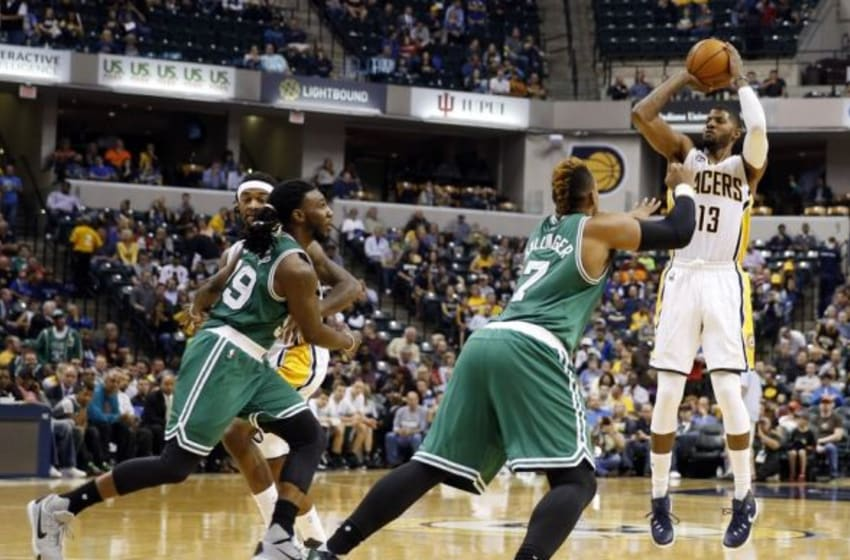 Nov 4, 2015; Indianapolis, IN, USA; Indiana Pacers forward Paul George (13) takes a shot against Boston Celtics forward Jared Sullinger (7) at Bankers Life Fieldhouse. Indiana defeats Boston 100-98. Mandatory Credit: Brian Spurlock-USA TODAY Sports