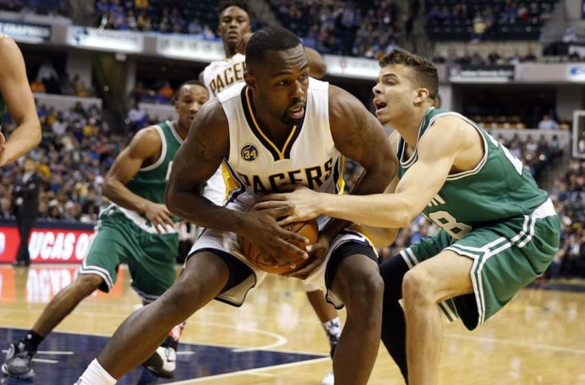 Nov 4, 2015; Indianapolis, IN, USA; Indiana Pacers guard Rodney Stuckey (2) is tied up by Boston Celtics guard R.J. Hunter (28) at Bankers Life Fieldhouse. Indiana defeats Boston 100-98. Mandatory Credit: Brian Spurlock-USA TODAY Sports