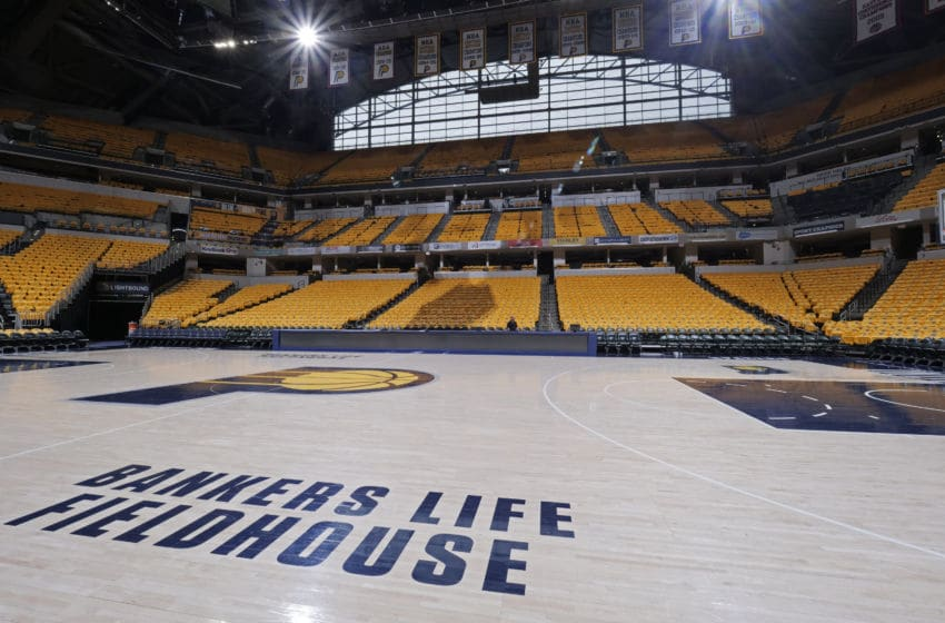 INDIANAPOLIS, IN - APRIL 21: A general view of the arena before Game Four of Round One between the Boston Celtics and the Indiana Pacers during the 2019 NBA Playoffs on April 21, 2019 at Bankers Life Fieldhouse in Indianapolis, Indiana. NOTE TO USER: User expressly acknowledges and agrees that, by downloading and/or using this photograph, user is consenting to the terms and conditions of the Getty Images License Agreement. Mandatory Copyright Notice: Copyright 2019 NBAE (Photo by Ron Hoskins/NBAE via Getty Images)