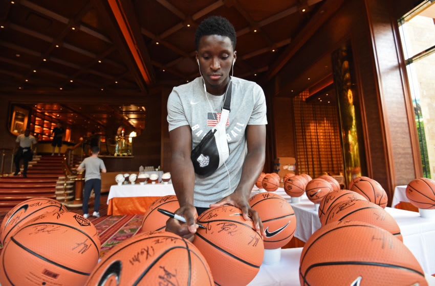 LAS VEGAS, NV - JULY 25: Victor Oladipo signs autographs during USAB Minicamp in Las Vegas, Nevada at the Wynn Las Vegas on July 25, 2018. NOTE TO USER: User expressly acknowledges and agrees that, by downloading and/or using this photograph, user is consenting to the terms and conditions of the Getty Images License Agreement. Mandatory Copyright Notice: Copyright 2018 NBAE (Photo by Adam Pantozzi/NBAE via Getty Images)