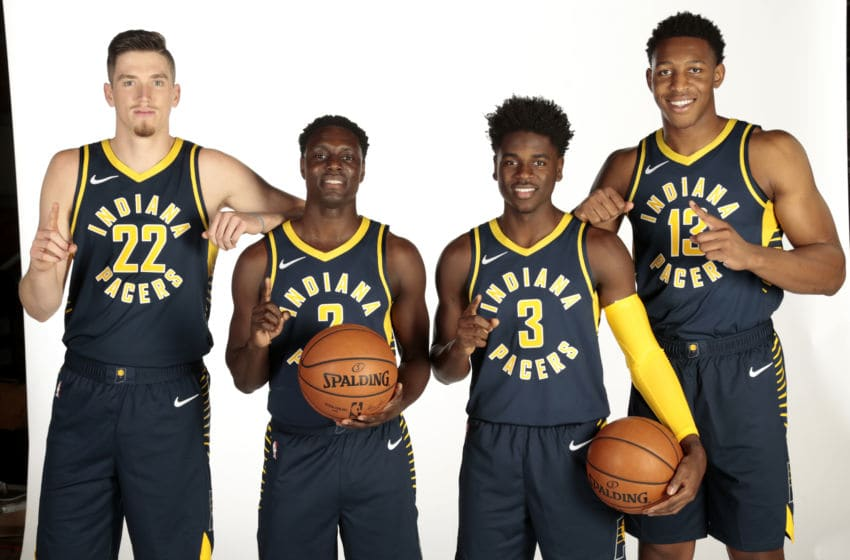 INDIANAPOLIS - SEPTEMBER 24: T.J. Leaf #22, Darren Collison #2, Aaron Holiday #3, and Ike Anigbogu #13 of the Indiana Pacers pose for a head shot during the Pacers Media Day on September 24, 2018 in Indianapolis, Indiana. NOTE TO USER: User expressly acknowledges and agrees that, by downloading and or using this Photograph, user is consenting to the terms and condition of the Getty Images License Agreement. Mandatory Copyright Notice: 2018 NBAE (Photo by Ron Hoskins/NBAE via Getty Images)