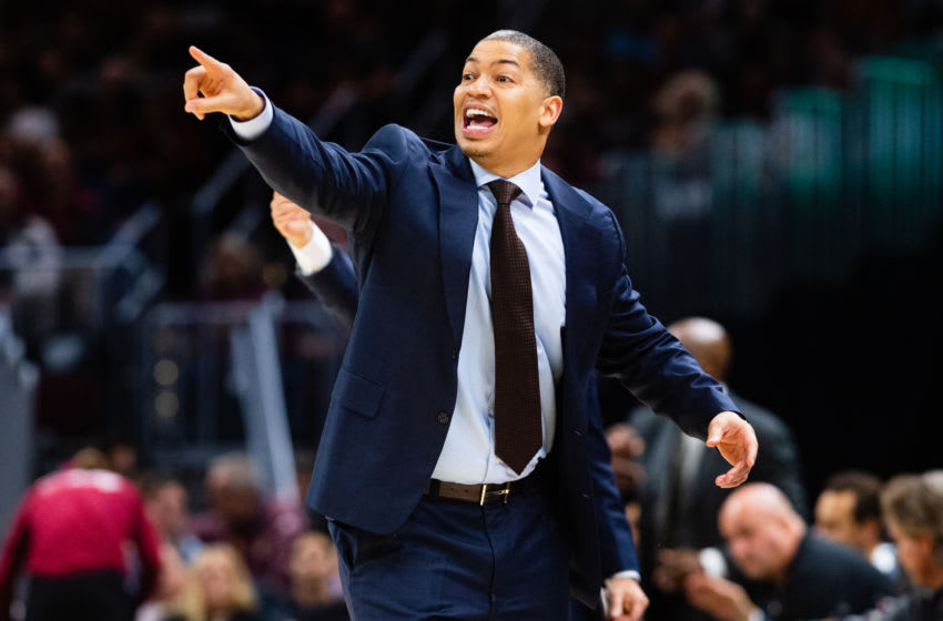CLEVELAND, OH - OCTOBER 27: Tyronn Lue # of the Cleveland Cavaliers yells to his players during the first half against the Indiana Pacers at Quicken Loans Arena on October 27, 2018 in Cleveland, Ohio. NOTE TO USER: User expressly acknowledges and agrees that, by downloading and/or using this photograph, user is consenting to the terms and conditions of the Getty Images License Agreement. (Photo by Jason Miller/Getty Images)