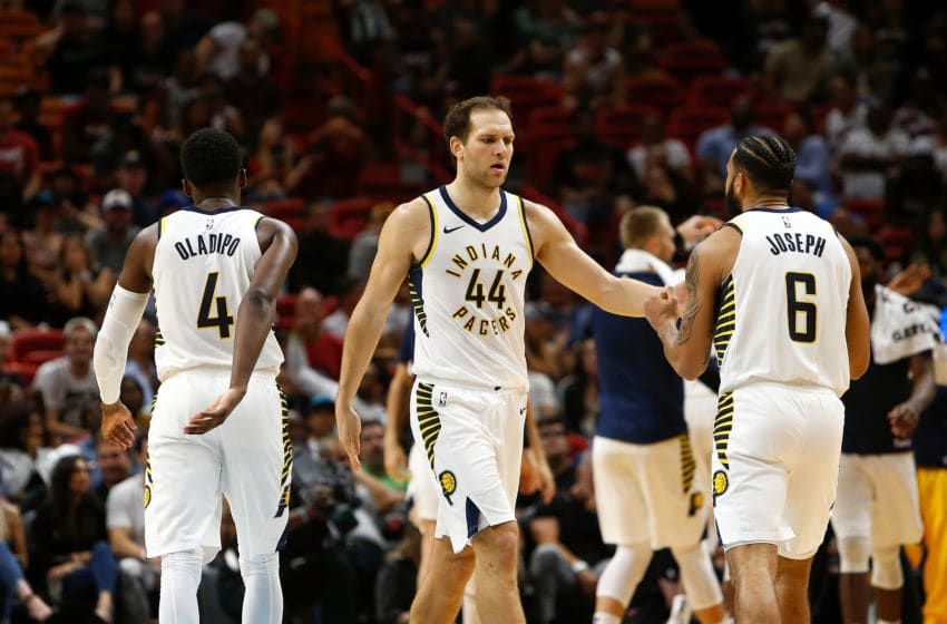 MIAMI, FL - NOVEMBER 09: Bojan Bogdanovic #44 of the Indiana Pacers celebrates with teammates after a basket in the final minute against the Miami Heat during the second half at American Airlines Arena on November 9, 2018 in Miami, Florida. (Photo by Michael Reaves/Getty Images)
