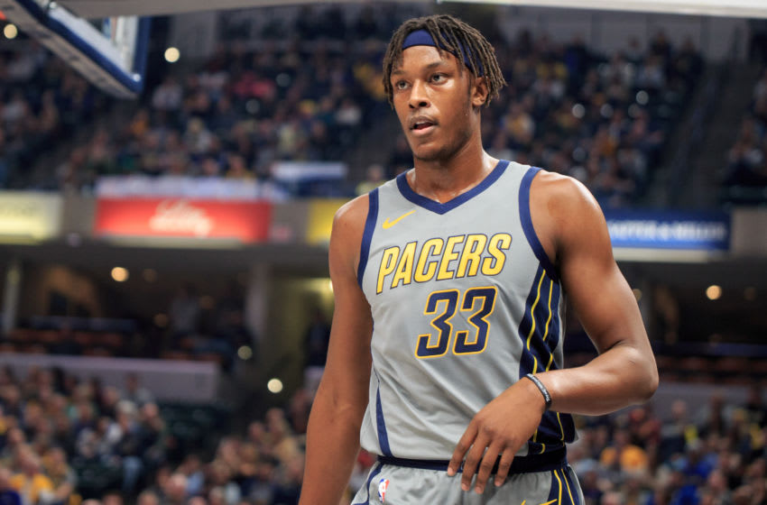 INDIANAPOLIS, IN - NOVEMBER 17: Myles Turner #33 of the Indiana Pacers gets ready for the next play in the game at the Atlanta Hawks in the second quarter at Bankers Life Fieldhouse on November 17, 2018 in Indianapolis, Indiana.(Photo by Justin Casterline/Getty Images)