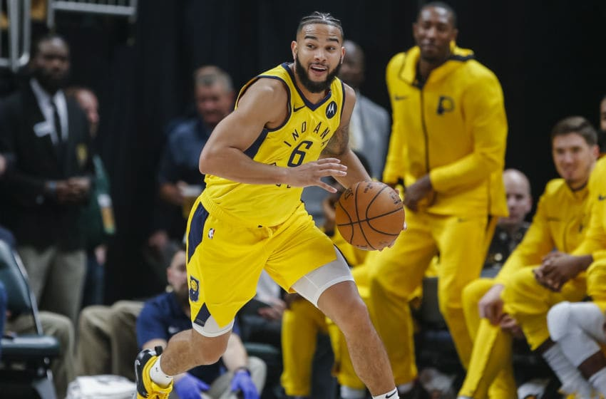 INDIANAPOLIS, IN - DECEMBER 31: Cory Joseph #6 of the Indiana Pacers brings the ball up court during the game against the Atlanta Hawks at Bankers Life Fieldhouse on December 31, 2018 in Indianapolis, Indiana. (Photo by Michael Hickey/Getty Images)