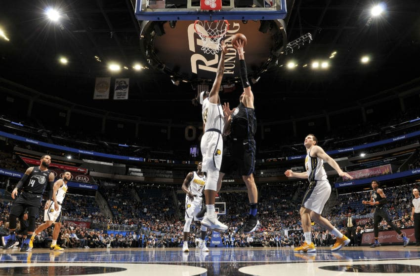 ORLANDO, FL - JANUARY 31: Myles Turner #33 of the Indiana Pacers blocks the shot by Nikola Vucevic #9 of the Orlando Magic during the game on January 31, 2019 at Amway Center in Orlando, Florida. (Photo by Fernando Medina/NBAE via Getty Images)