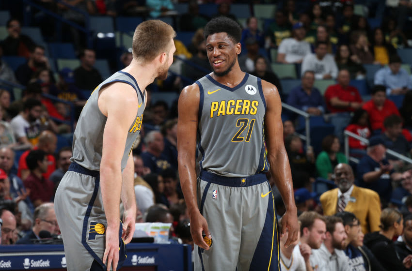 NEW ORLEANS, LA - FEBRUARY 4: Thaddeus Young #21 of the Indiana Pacers smiles during a game against the New Orleans Pelicans on February 4, 2019 at the Smoothie King Center in New Orleans, Louisiana. NOTE TO USER: User expressly acknowledges and agrees that, by downloading and or using this Photograph, user is consenting to the terms and conditions of the Getty Images License Agreement. Mandatory Copyright Notice: Copyright 2019 NBAE (Photo by Layne Murdoch Jr./NBAE via Getty Images)