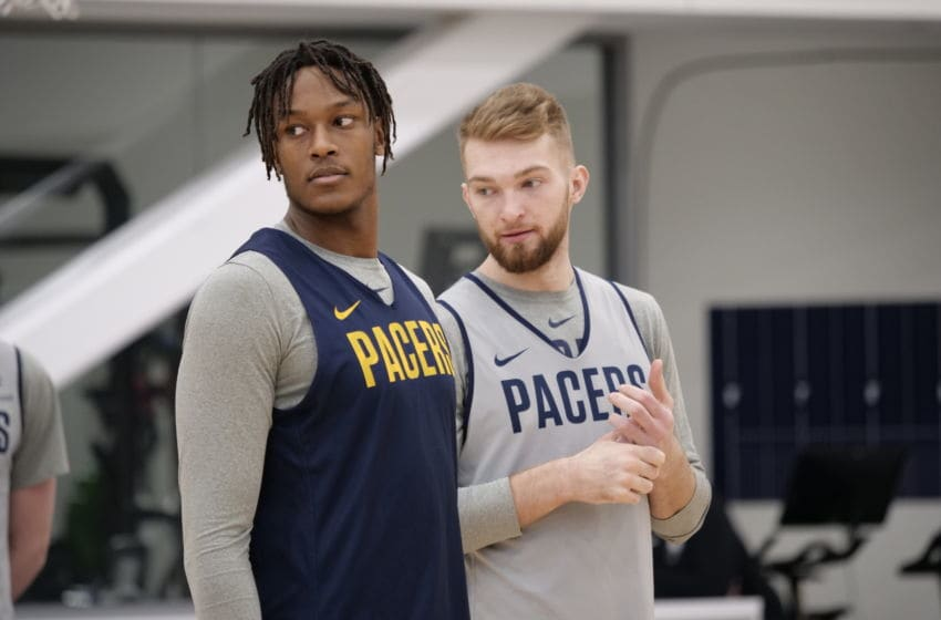 Myles Turner, Domantas Sabonis, Indiana Pacers (Photo by Ron Hoskins/NBAE via Getty Images)
