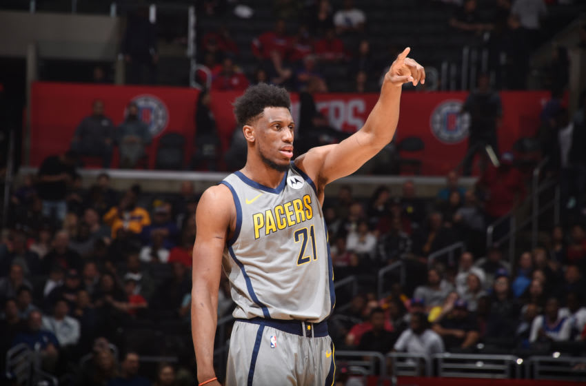 LOS ANGELES, CA - MARCH 19: Thaddeus Young #21 of the Indiana Pacers looks on during the game against the LA Clippers on March 19, 2019 at STAPLES Center in Los Angeles, California. NOTE TO USER: User expressly acknowledges and agrees that, by downloading and/or using this Photograph, user is consenting to the terms and conditions of the Getty Images License Agreement. Mandatory Copyright Notice: Copyright 2019 NBAE (Photo by Adam Pantozzi/NBAE via Getty Images)