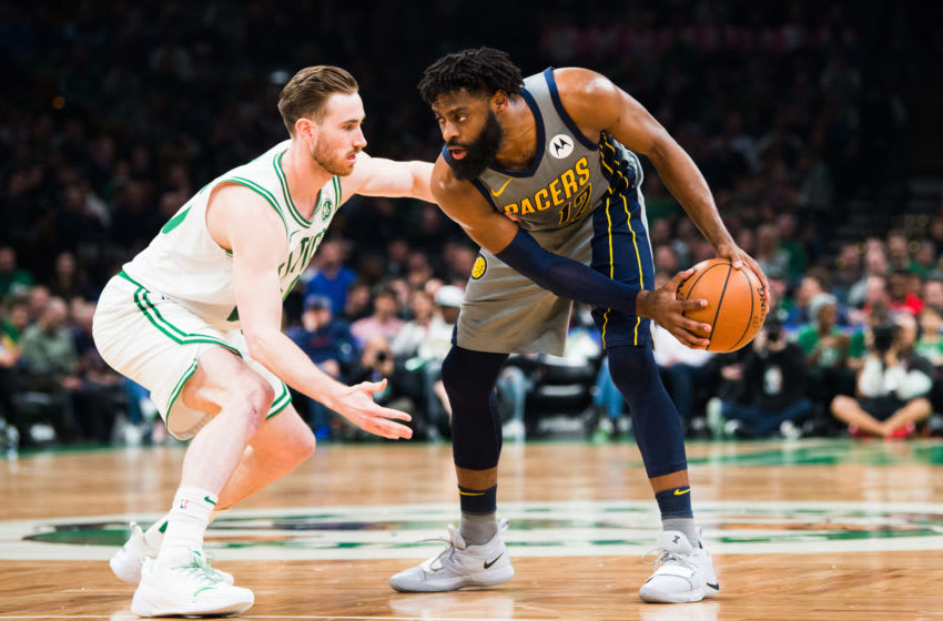 BOSTON, MA - MARCH 29: Gordon Hayward #20 of the Boston Celtics defends Tyreke Evans #12 of the Indiana Pacers at TD Garden on March 29, 2019 in Boston, Massachusetts. NOTE TO USER: User expressly acknowledges and agrees that, by downloading and or using this photograph, User is consenting to the terms and conditions of the Getty Images License Agreement. (Photo by Kathryn Riley/Getty Images)