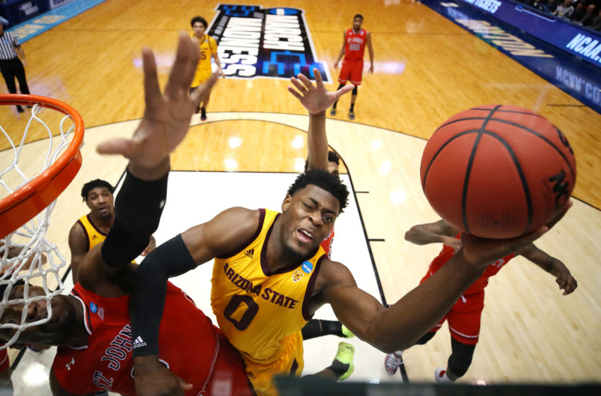 DAYTON, OHIO - MARCH 20: Luguentz Dort #0 of the Arizona State Sun Devils drives to the basket against Sedee Keita #0 of the St. John's Red Storm during the first half in the First Four of the 2019 NCAA Men's Basketball Tournament at UD Arena on March 20, 2019 in Dayton, Ohio. (Photo by Gregory Shamus/Getty Images)