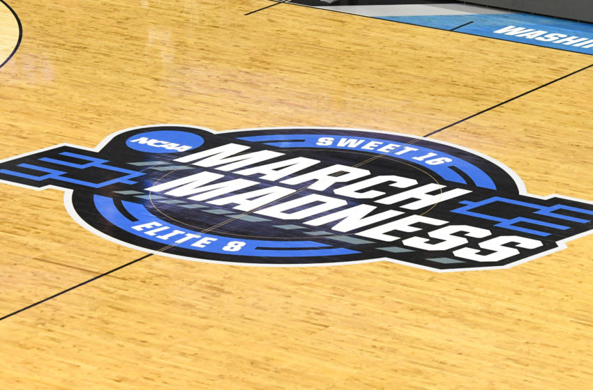 WASHINGTON, DC - MARCH 29: NCAA March Madness logo on the floor before the East Regional game of the 2019 NCAA Men's Basketball Tournament between the LSU Tigers and the Michigan State Spartans at Capital One Arena on March 29, 2019 in Washington, DC. (Photo by Mitchell Layton/Getty Images)