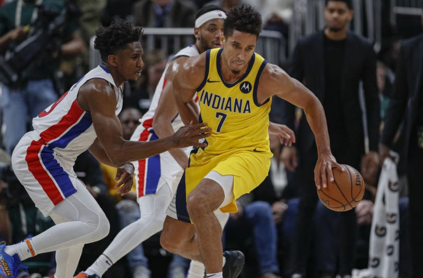 INDIANAPOLIS, IN - NOVEMBER 08: Malcolm Brogdon #7 of the Indiana Pacers brings the ball up court during the game against the Detroit Pistons at Bankers Life Fieldhouse on November 8, 2019 in Indianapolis, Indiana. NOTE TO USER: User expressly acknowledges and agrees that, by downloading and/or using this photograph, user is consenting to the terms and conditions of the Getty Images License Agreement (Photo by Michael Hickey/Getty Images)
