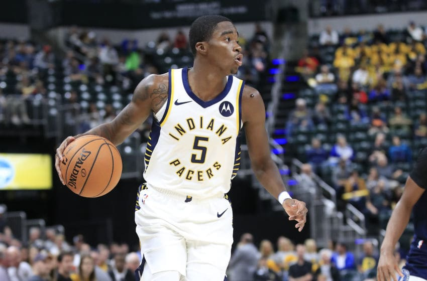 INDIANAPOLIS, INDIANA - OCTOBER 15: Edmond Sumner #5 of the Indiana Pacers dribbles the ball against the Minnesota Timberwolves at Bankers Life Fieldhouse on October 15, 2019 in Indianapolis, Indiana. (Photo by Andy Lyons/Getty Images)