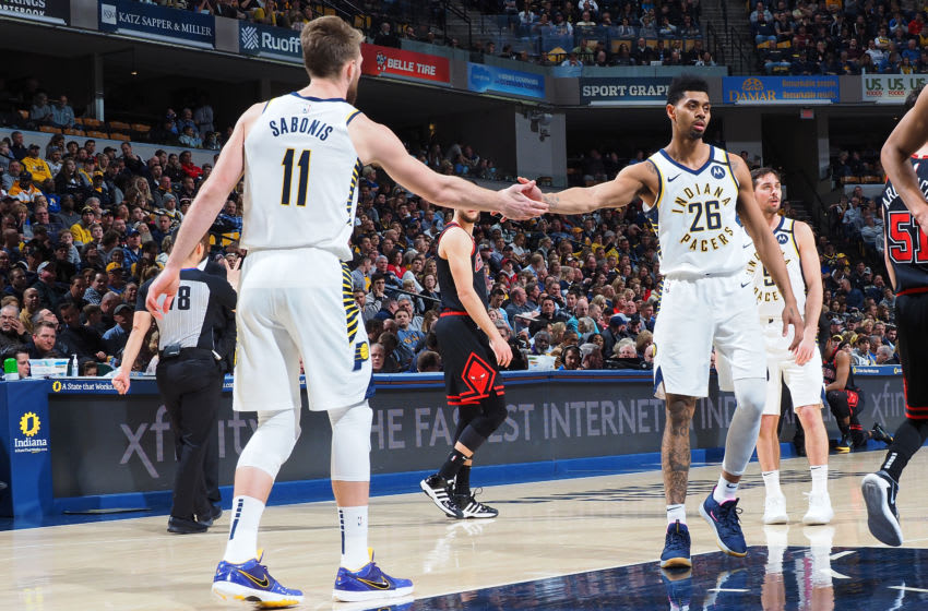 INDIANAPOLIS, IN - JANUARY 29: Domantas Sabonis #11 and Jeremy Lamb #26 of the Indiana Pacers hi-fives during the game against the Chicago Bulls on January 29, 2020 at Bankers Life Fieldhouse in Indianapolis, Indiana. NOTE TO USER: User expressly acknowledges and agrees that, by downloading and or using this Photograph, user is consenting to the terms and conditions of the Getty Images License Agreement. Mandatory Copyright Notice: Copyright 2020 NBAE (Photo by Ron Hoskins/NBAE via Getty Images)