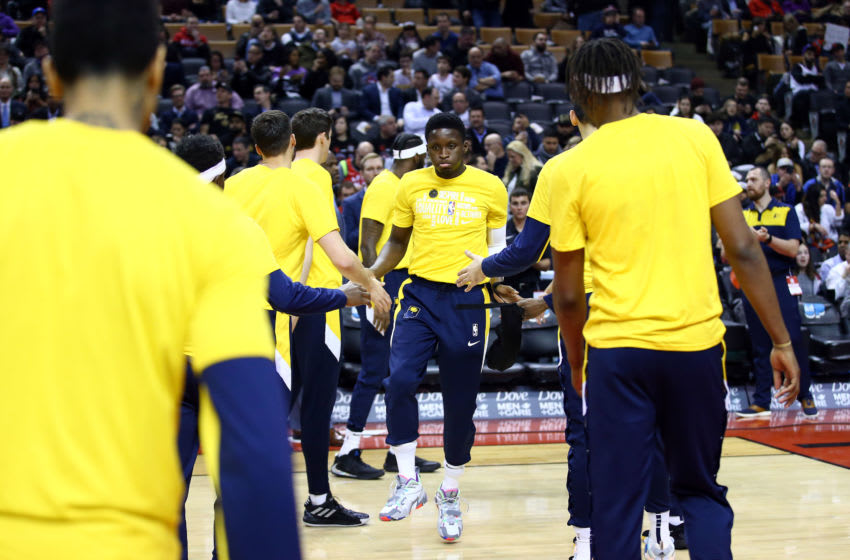TORONTO, ON - FEBRUARY 05: Victor Oladipo #4 of the Indiana Pacers is introduced prior to the first half of an NBA game against the Toronto Raptors at Scotiabank Arena on February 05, 2020 in Toronto, Canada. NOTE TO USER: User expressly acknowledges and agrees that, by downloading and or using this photograph, User is consenting to the terms and conditions of the Getty Images License Agreement. (Photo by Vaughn Ridley/Getty Images)