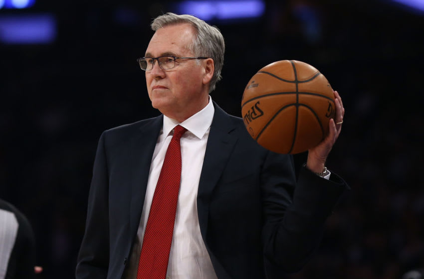 NEW YORK, NEW YORK - MARCH 02: Head Coach Mike D'Antoni of the Houston Rockets in action during the game against the New York Knicks at Madison Square Garden on March 02, 2020 in New York City. NOTE TO USER: User expressly acknowledges and agrees that, by downloading and or using this photograph, User is consenting to the terms and conditions of the Getty Images License Agreement. New York Knicks defeated the Houston Rockets 125-123. (Photo by Mike Stobe/Getty Images)