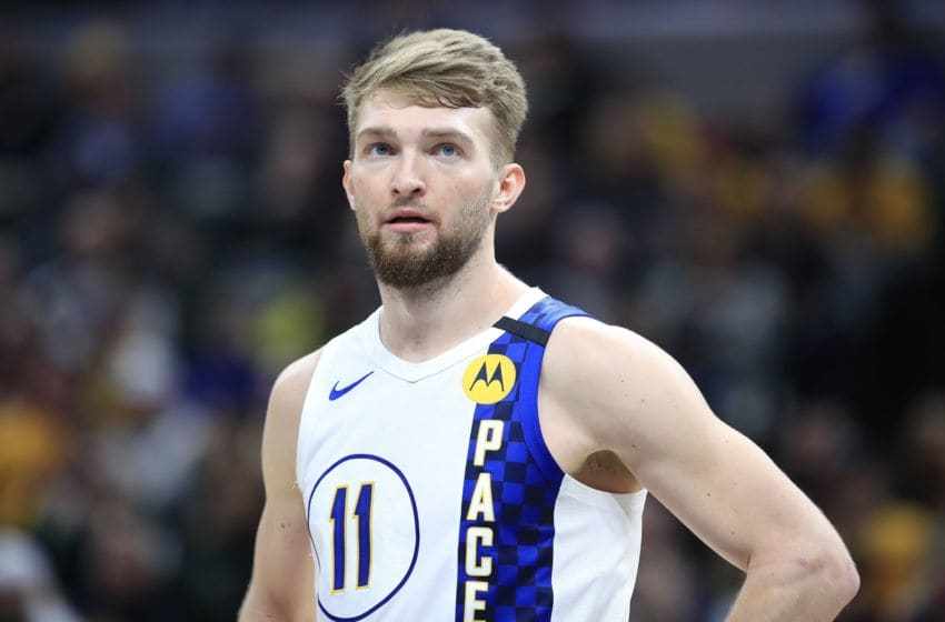 INDIANAPOLIS, INDIANA - FEBRUARY 12: Domantas Sabonis #11 of the Indiana Pacers watches the action against the Milwaukee Bucks at Bankers Life Fieldhouse on February 12, 2020 in Indianapolis, Indiana. NOTE TO USER: User expressly acknowledges and agrees that, by downloading and or using this photograph, User is consenting to the terms and conditions of the Getty Images License Agreement. (Photo by Andy Lyons/Getty Images)