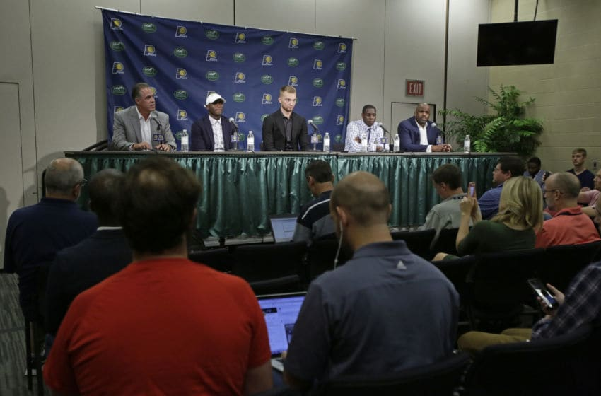 INDIANAPOLIS, IN - JULY 07: President of basketball operations, Kevin Pritchard and Head Coach, Nate McMillan of the Indiana Pacers introduce Victor Oladipo, Domantas Sabonis and Darren Collison during a press conference at Bankers Life Fieldhouse on July 7, 2017 in Indianapolis, Indiana. (Photo by Ron Hoskins/NBAE via Getty Images)