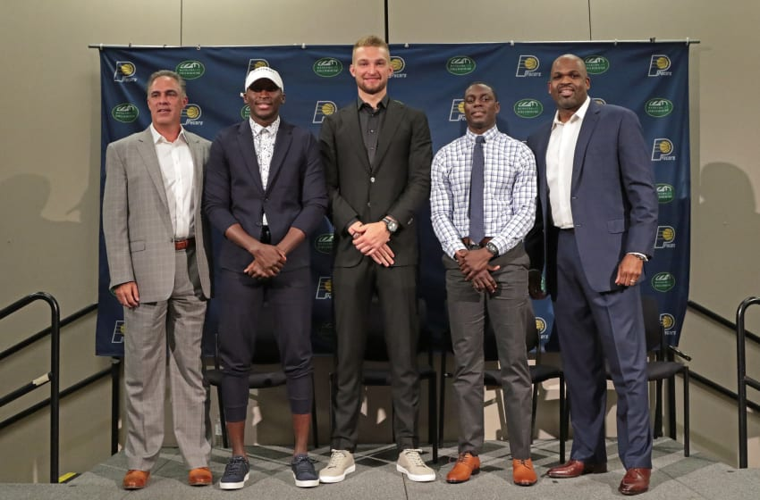 INDIANAPOLIS, IN - JULY 07: President of basketball operations, Kevin Pritchard and Head Coach, Nate McMillan of the Indiana Pacers introduce Victor Oladipo, Domantas Sabonis and Darren Collison during a press conference at Bankers Life Fieldhouse on July 7, 2017 in Indianapolis, Indiana. NOTE TO USER: User expressly acknowledges and agrees that, by downloading and or using this Photograph, user is consenting to the terms and condition of the Getty Images License Agreement. Mandatory Copyright Notice: 2017 NBAE (Photo by Ron Hoskins/NBAE via Getty Images)