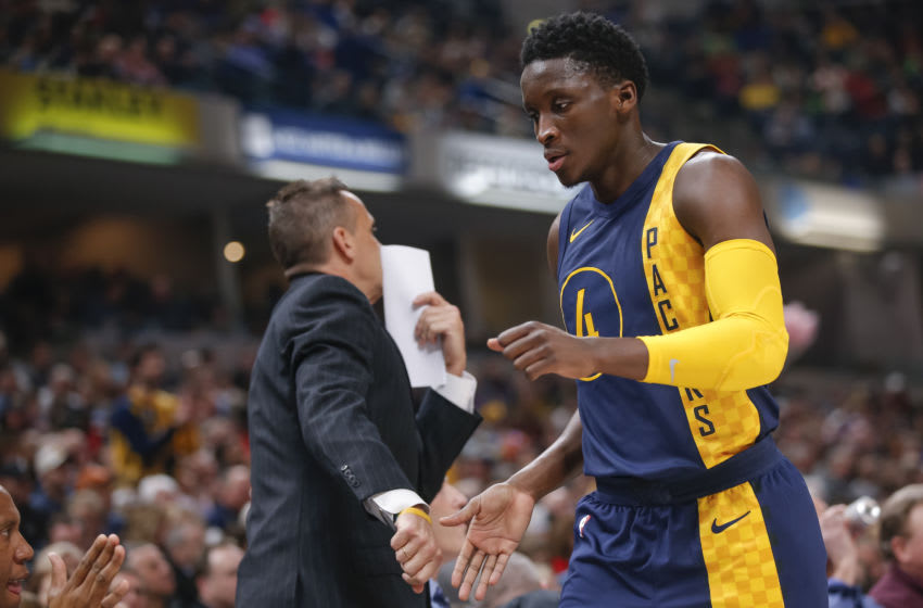 INDIANAPOLIS, IN - MARCH 15: Victor Oladipo #4 of the Indiana Pacers returns to the bench during the game against the Toronto Raptors at Bankers Life Fieldhouse on March 15, 2018 in Indianapolis, Indiana. NOTE TO USER: User expressly acknowledges and agrees that, by downloading and or using this photograph, User is consenting to the terms and conditions of the Getty Images License Agreement.(Photo by Michael Hickey/Getty Images)