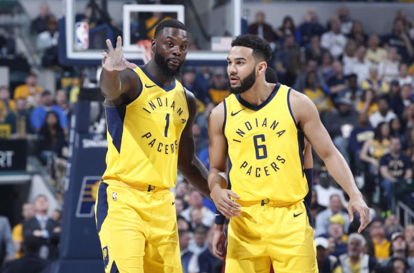 INDIANAPOLIS, IN - APRIL 22: Lance Stephenson #1 and Cory Joseph #6 of the Indiana Pacers look on against the Cleveland Cavaliers during game four of the NBA Playoffs at Bankers Life Fieldhouse on April 22, 2018 in Indianapolis, Indiana. The Cavaliers won 104-100. (Photo by Joe Robbins/Getty Images) *** Local Caption *** Lance Stephenson;Cory Joseph