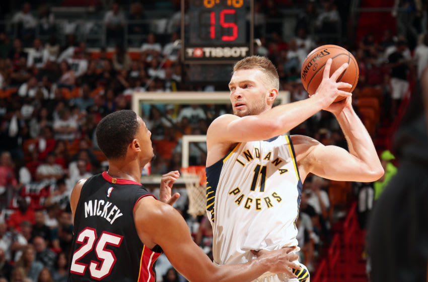 MIAMI, FL - OCTOBER 21: Domantas Sabonis #11 of the Indiana Pacers handles the ball against the Miami Heat on October 21, 2017 at American Airlines Arena in Miami, Florida. NOTE TO USER: User expressly acknowledges and agrees that, by downloading and or using this Photograph, user is consenting to the terms and conditions of the Getty Images License Agreement. Mandatory Copyright Notice: Copyright 2017 NBAE (Photo by Issac Baldizon/NBAE via Getty Images)
