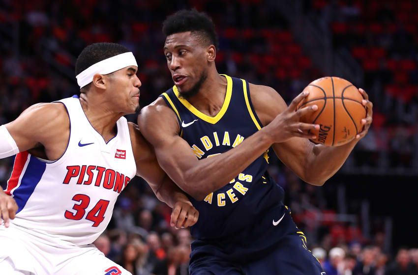 DETROIT, MI - NOVEMBER 08: Thaddeus Young #21 of the Indiana Pacers tries to drive around Tobias Harris #34 of the Detroit Pistons during the first half at Little Caesars Arena on November 9, 2017 in Detroit, Michigan. NOTE TO USER: User expressly acknowledges and agrees that, by downloading and or using this photograph, User is consenting to the terms and conditions of the Getty Images License Agreement. (Photo by Gregory Shamus/Getty Images)