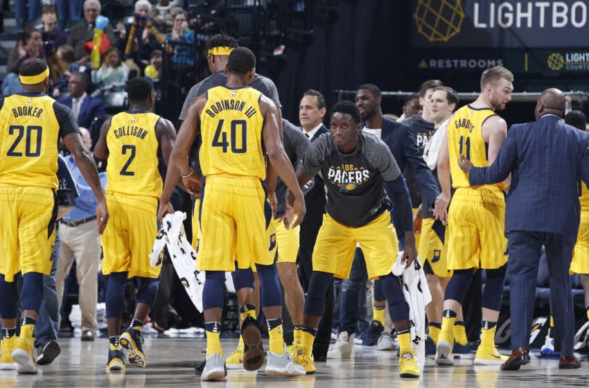 INDIANAPOLIS, IN - MARCH 09: Indiana Pacers players celebrate in the first half of a game against the Atlanta Hawks at Bankers Life Fieldhouse on March 9, 2018 in Indianapolis, Indiana. The Pacers won 112-87. NOTE TO USER: User expressly acknowledges and agrees that, by downloading and or using the photograph, User is consenting to the terms and conditions of the Getty Images License Agreement. (Photo by Joe Robbins/Getty Images)