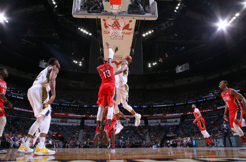NEW ORLEANS, LA - MARCH 21: Myles Turner #33 of the Indiana Pacers dunks the ball against the New Orleans Pelicans on March 21, 2018 at Smoothie King Center in New Orleans, Louisiana. NOTE TO USER: User expressly acknowledges and agrees that, by downloading and/or using this photograph, user is consenting to the terms and conditions of the Getty Images License Agreement. Mandatory Copyright Notice: Copyright 2018 NBAE (Photo by Layne Murdoch/NBAE via Getty Images)