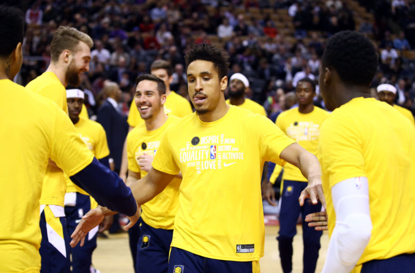 TORONTO, ON - FEBRUARY 05: Malcom Brogdon #7 of the Indiana Pacers is introduced prior to the first half of an NBA game against the Toronto Raptors at Scotiabank Arena on February 05, 2020 in Toronto, Canada. NOTE TO USER: User expressly acknowledges and agrees that, by downloading and or using this photograph, User is consenting to the terms and conditions of the Getty Images License Agreement. (Photo by Vaughn Ridley/Getty Images)
