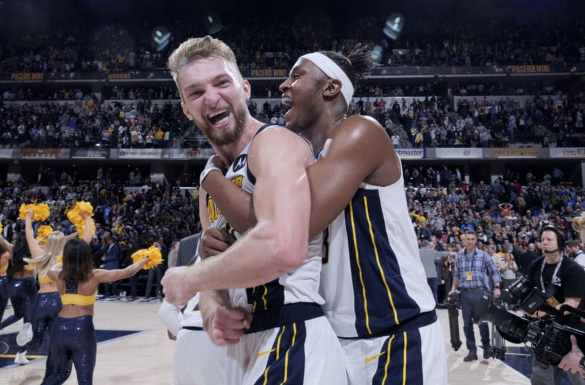 INDIANAPOLIS, IN - MARCH 14: Domantas Sabonis #11 and Myles Turner #33 of the Indiana Pacers react after defeating the Oklahoma City Thunder on March 14, 2019 at Bankers Life Fieldhouse in Indianapolis, Indiana. NOTE TO USER: User expressly acknowledges and agrees that, by downloading and or using this Photograph, user is consenting to the terms and conditions of the Getty Images License Agreement. Mandatory Copyright Notice: Copyright 2019 NBAE (Photo by Ron Hoskins/NBAE via Getty Images)