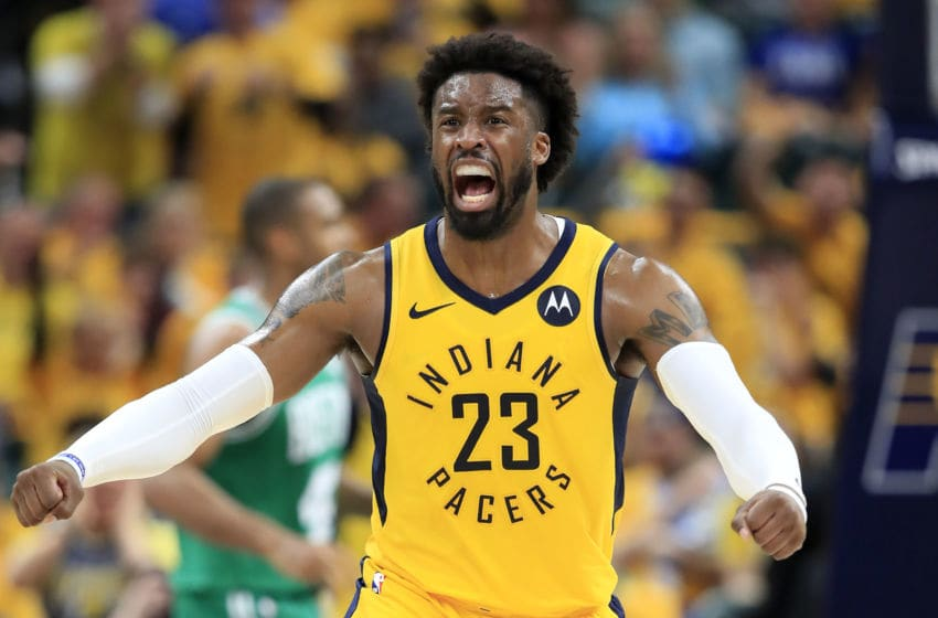 INDIANAPOLIS, INDIANA - APRIL 21: Wesley Matthews #23 of the Indiana Pacers celebrates against the Boston Celtics in game four of the first round of the 2019 NBA Playoffs at Bankers Life Fieldhouse on April 21, 2019 in Indianapolis, Indiana. NOTE TO USER: User expressly acknowledges and agrees that , by downloading and or using this photograph, User is consenting to the terms and conditions of the Getty Images License Agreement. (Photo by Andy Lyons/Getty Images)