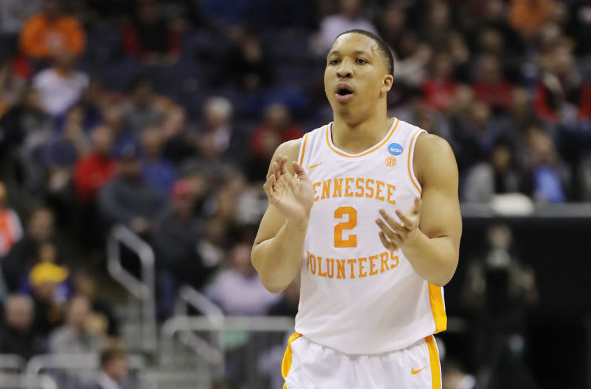 COLUMBUS, OHIO - MARCH 22: Grant Williams #2 of the Tennessee Volunteers reacts during the first half against the Colgate Raiders in the first round of the 2019 NCAA Men's Basketball Tournament at Nationwide Arena on March 22, 2019 in Columbus, Ohio. (Photo by Elsa/Getty Images)