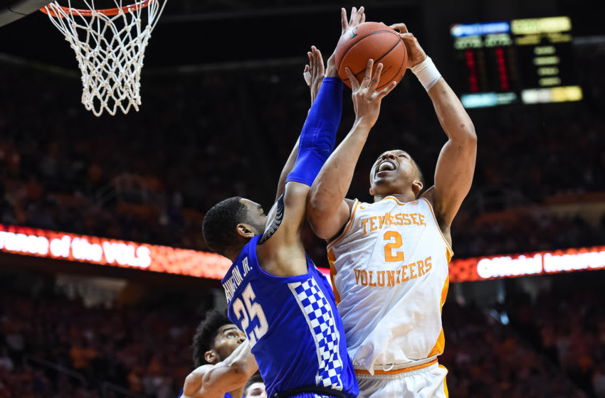KNOXVILLE, TN - MARCH 2: Tennessee Volunteers forward Grant Williams (2) being defended by Kentucky Wildcats forward PJ Washington (25) during a college basketball game between the Tennessee Volunteers and Kentucky Wildcats on March 2, 2019, at Thompson-Boling Arena in Knoxville, TN. (Photo by Bryan Lynn/Icon Sportswire via Getty Images)