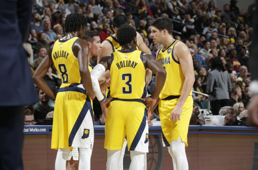 INDIANAPOLIS, IN - NOVEMBER 1: The Indiana Pacers huddle up during a game against the Cleveland Cavaliers on November 1, 2019 at Bankers Life Fieldhouse in Indianapolis, Indiana. NOTE TO USER: User expressly acknowledges and agrees that, by downloading and or using this Photograph, user is consenting to the terms and conditions of the Getty Images License Agreement. Mandatory Copyright Notice: Copyright 2019 NBAE (Photo by Ron Hoskins/NBAE via Getty Images)