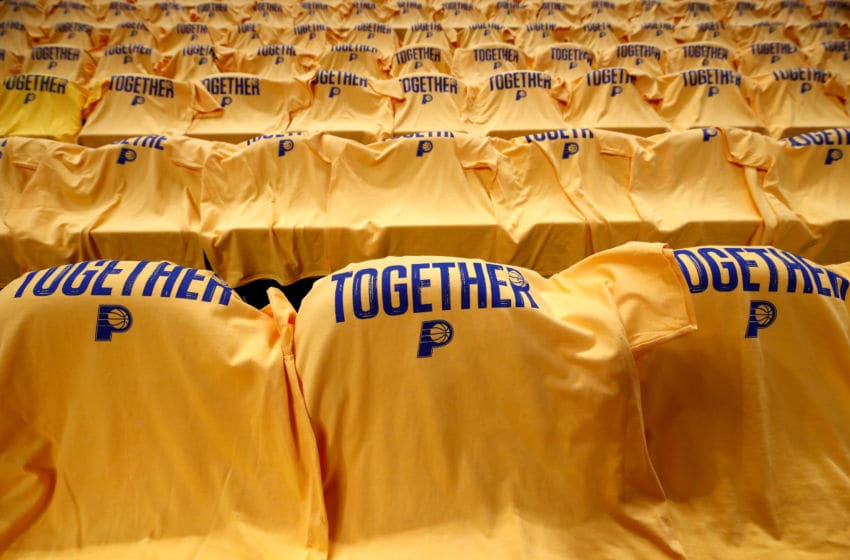 INDIANAPOLIS, IN - APRIL 27: T-shirts drap the seats of Bankers Life Fieldhouse before the start of the Cleveland Cavaliers game against the Indiana Pacers in Game Six of the Eastern Conference Quarterfinals during the 2018 NBA Playoffs at Bankers Life Fieldhouse on April 27, 2018 in Indianapolis, Indiana. NOTE TO USER: User expressly acknowledges and agrees that, by downloading and or using this photograph, User is consenting to the terms and conditions of the Getty Images License Agreement. (Photo by Andy Lyons/Getty Images)