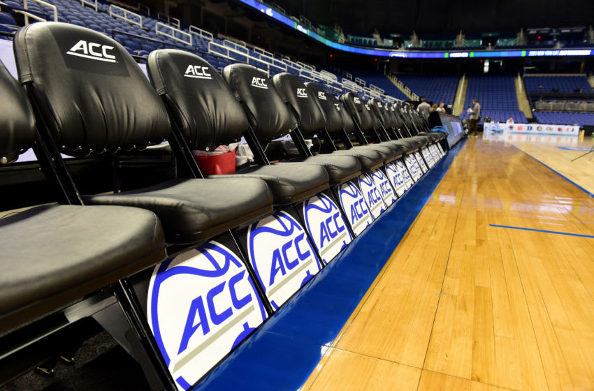 GREENSBORO, NORTH CAROLINA - MARCH 12: A general view of empty seats following the cancelation of the remainder of the 2020 Men's ACC Basketball Tournament at Greensboro Coliseum on March 12, 2020 in Greensboro, North Carolina. The cancelation is due to concerns over the possible spread of the Coronavirus (COVID-19). (Photo by Jared C. Tilton/Getty Images)